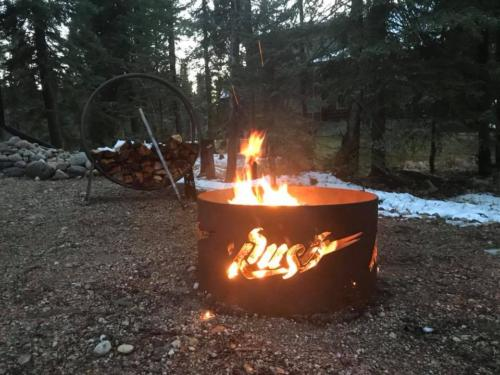 Saskatoon Rush Pit with Fire Ring for Wood Storage